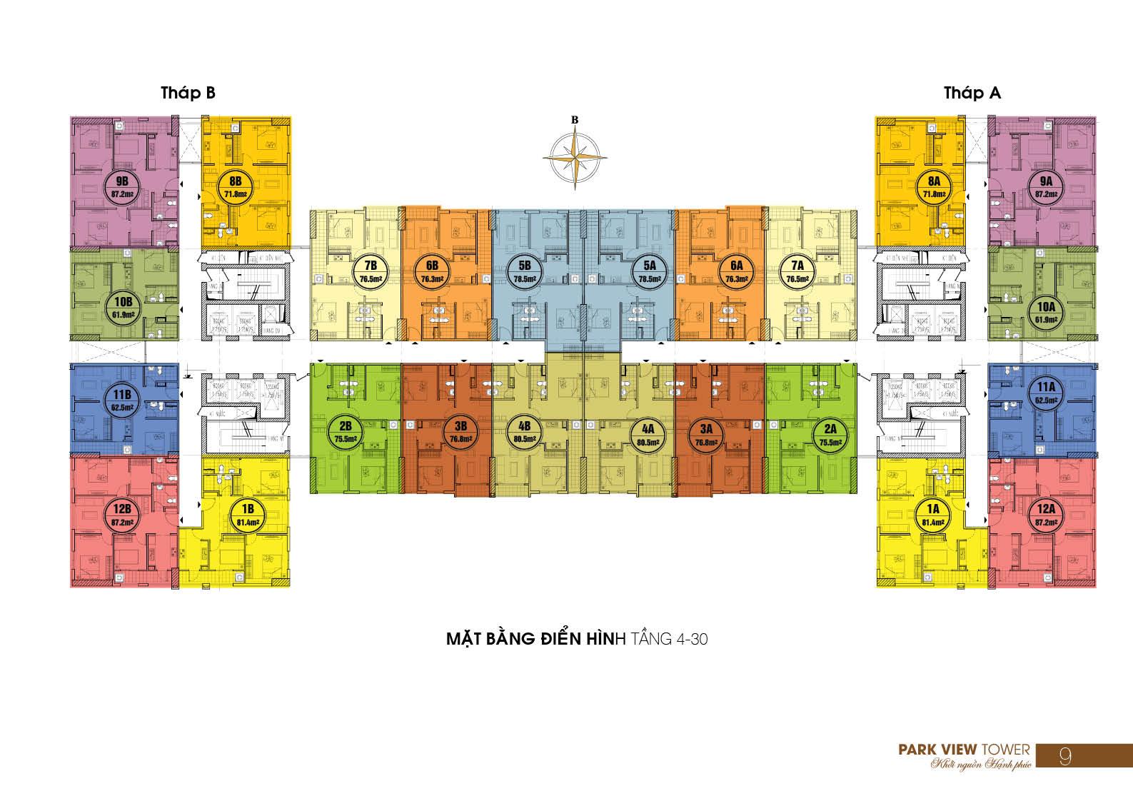 Mặt bằng điển hình tầng 4 - 30 Chung cư Đồng Phát Park View quận Hoàng Mai