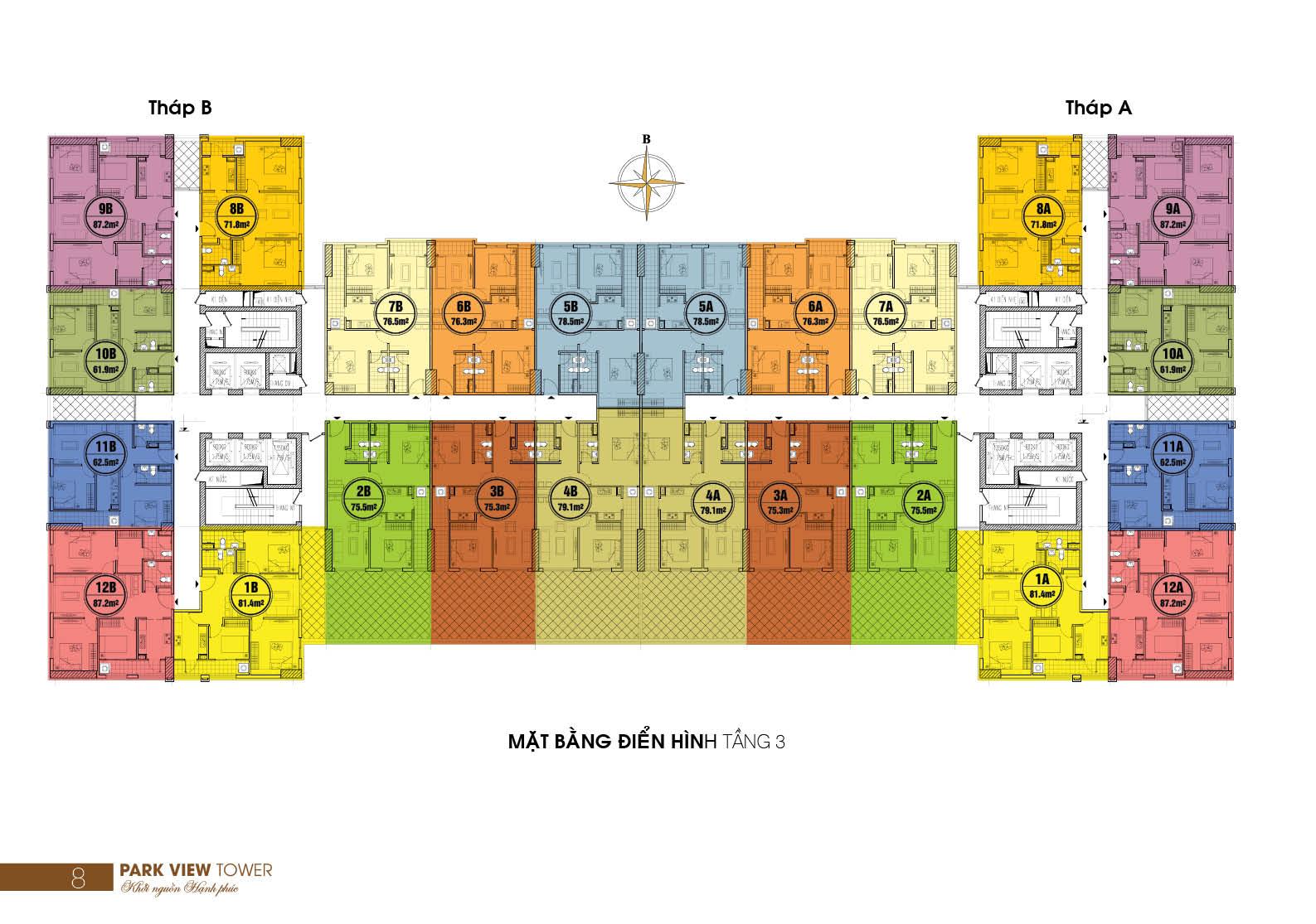 Mặt bằng điển hình tầng 3 Chung cư Đồng Phát Park View quận Hoàng Mai