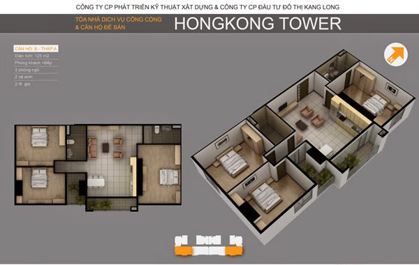 Thiết kế căn hộ B tòa A, Chung cư HongKong Tower 243a La Thành