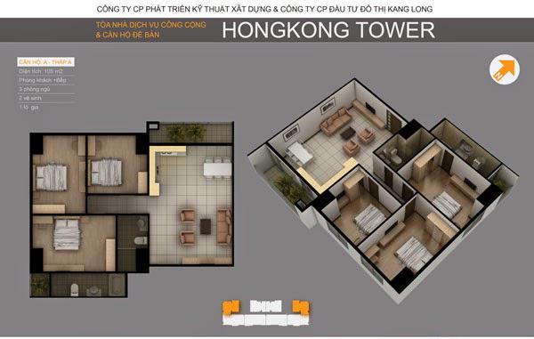 Thiết kế căn hộ A tòa A, Chung cư Hồng Kông Tower Đống Đa 243a La Thành