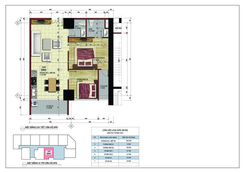 Căn hộ số 09 tòa A dự án MBLand Central Point chung cư 219 Trung Kính