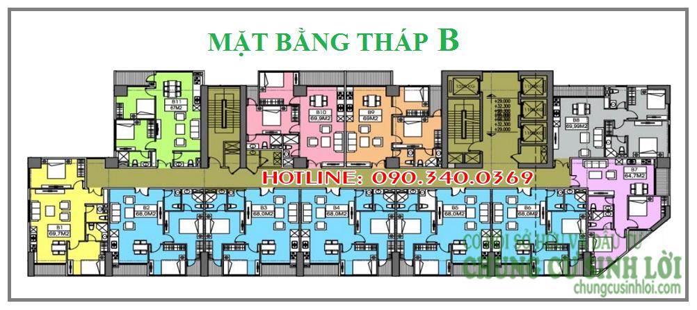 Thiết kế mặt bằng tháp B - Chung cư 219 Trung Kính quận Cầu Giấy
