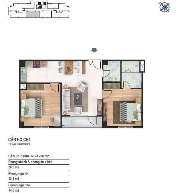 Căn hộ 68m2 chung cư Yên Hòa Condominium 259 Yên Hòa