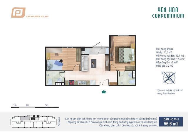 Căn hộ 56.6m2 chung cư Yên Hòa Condominium 259 Yên Hòa