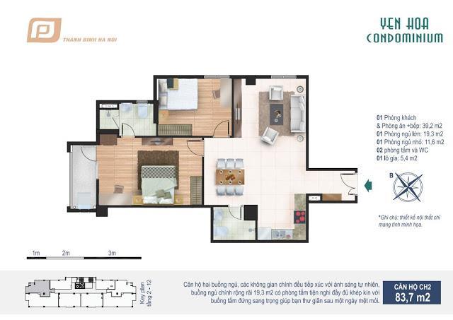 Căn hộ 83.7m2 chung cư Yên Hòa Condominium 259 Yên Hòa