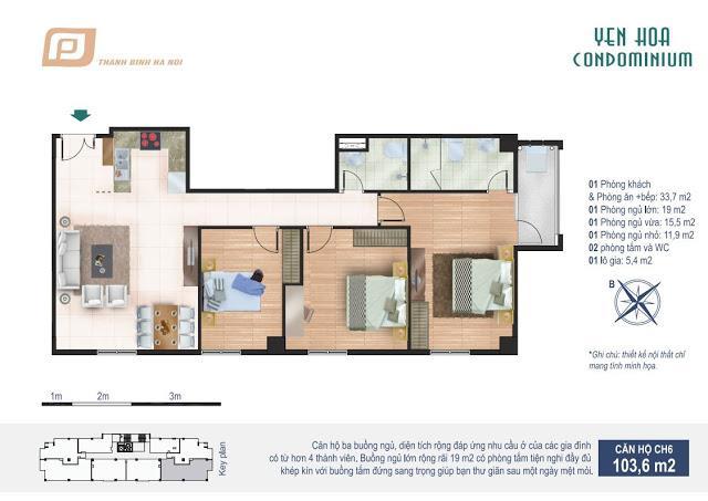 Căn hộ 103.6m2 chung cư Yên Hòa Condominium 259 Yên Hòa