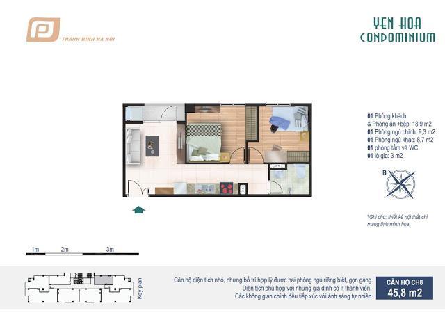 Căn hộ 45.8m2 chung cư Yên Hòa Condominium 259 Yên Hòa