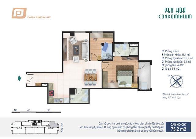 Căn hộ 75.2m2 chung cư Yên Hòa Condominium 259 Yên Hòa