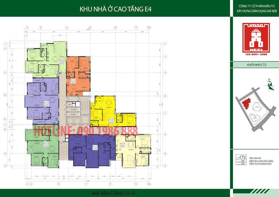 Mặt bằng tầng 13 đến 15 chung cư E4 Tower Yên Hòa đường Vũ Phạm Hàm Cầu Giấy