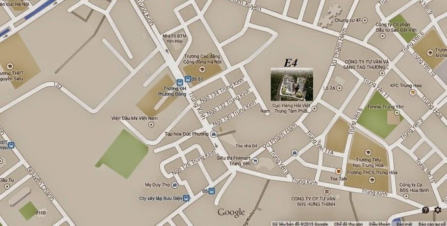 Vị trí chung cư E4 Tower Yên Hòa Vũ Phạm Hàm quận Cầu Giấy, Chung cư E4 Yên Hòa
