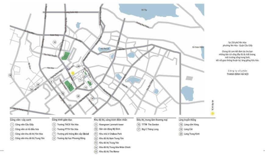 Vị trí và tiện ích tại chung cư Yên Hòa Condominium