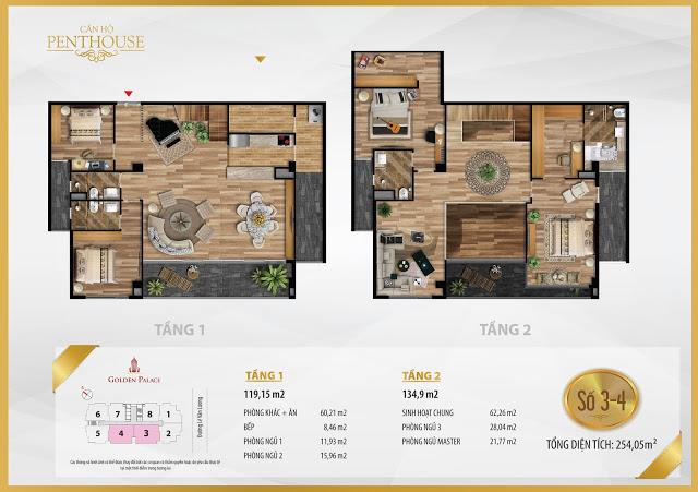 Mặt bằng thiết kế căn hộ PENTHOUSE 119m2 chung cư Golden Palace C3 Tower Lê Văn Lương