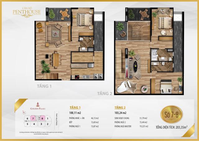 Mặt bằng thiết kế căn hộ PENTHOUSE 203m2 chung cư Golden Palace C3 Tower Lê Văn Lương