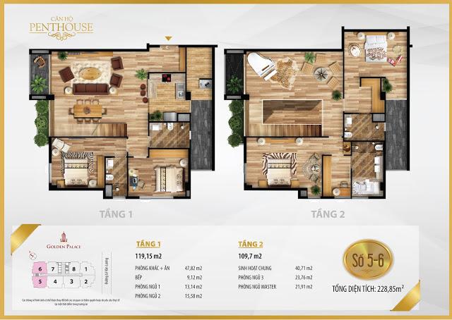 Mặt bằng thiết kế căn hộ PENTHOUSE 228m2 chung cư Golden Palace C3 Tower Lê Văn Lương