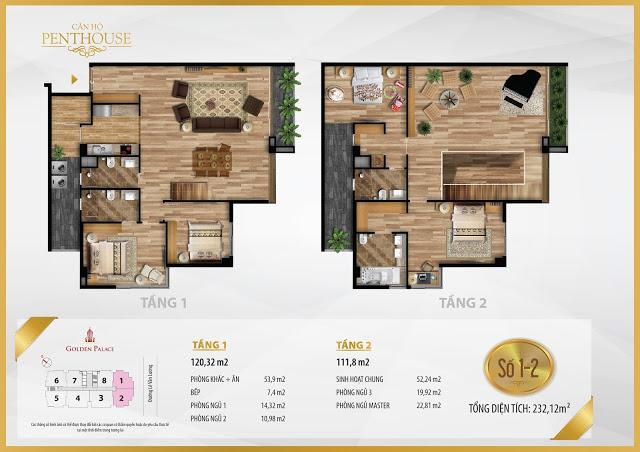 Mặt bằng thiết kế căn hộ PENTHOUSE 232m2 chung cư Golden Palace C3 Tower Lê Văn Lương
