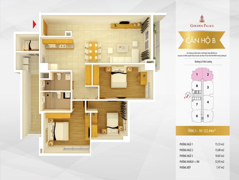 Mặt bằng căn hộ điển hình căn hộ số 1 và 2 chung cư Golden Palace C3 Tower Lê Văn Lương