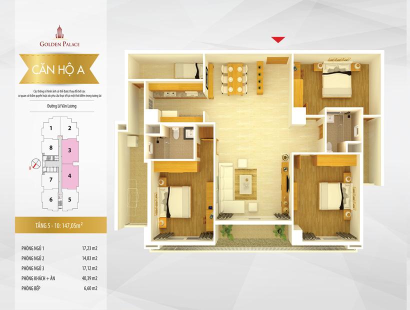 Mặt bằng căn hộ điển hình căn hộ số 3 và 4 chung cư Golden Palace C3 Tower Lê Văn Lương