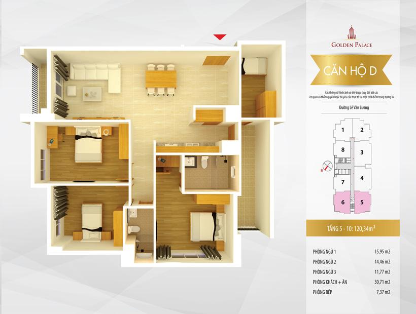 Mặt bằng căn hộ điển hình căn hộ số 5 và 6 chung cư Golden Palace C3 Tower Lê Văn Lương