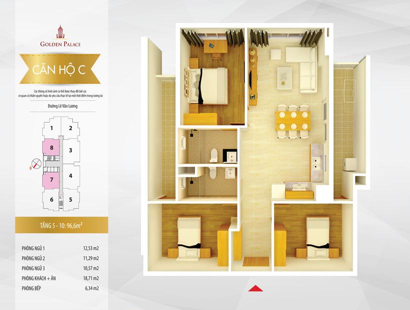 Mặt bằng căn hộ điển hình căn hộ số 7 và 8 chung cư Golden Palace C3 Tower Lê Văn Lương