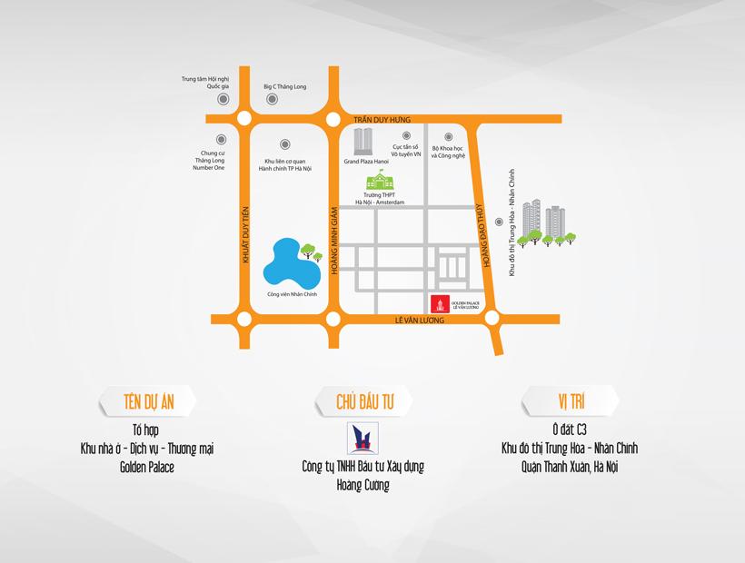 Vị trí dự án chung cư Golden Palace C3 Tower Lê Văn Lương