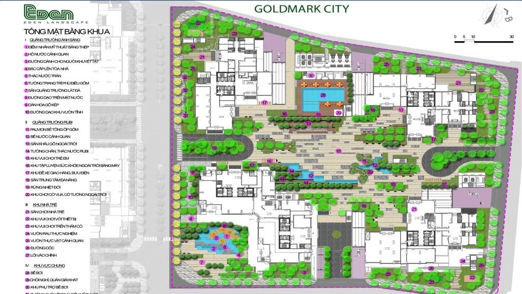 Chi tiết mặt bằng thiết kế tiện tích bên trọng dự án chung cư Goldmark City 136 Hồ Tùng Mậu