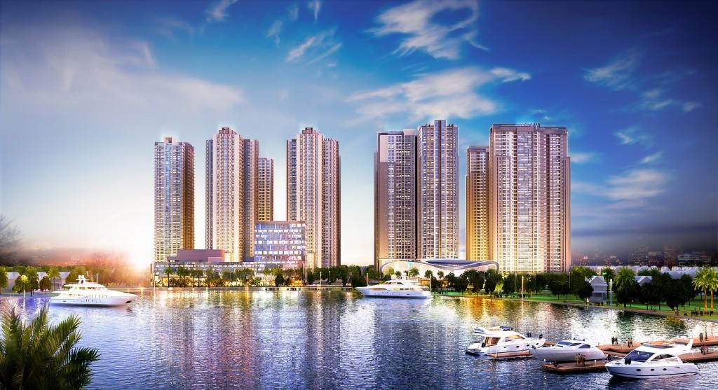 Tổng quan dự án chung cư Goldmark City 136 Hồ Tùng Mậu nhìn từ công viên hồ điều hòa.