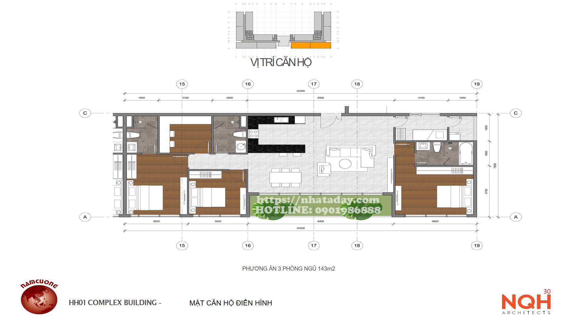 Thiết kế căn hộ 143m2 Chung cư Anland Complex Building Nam Cường Dương Nội