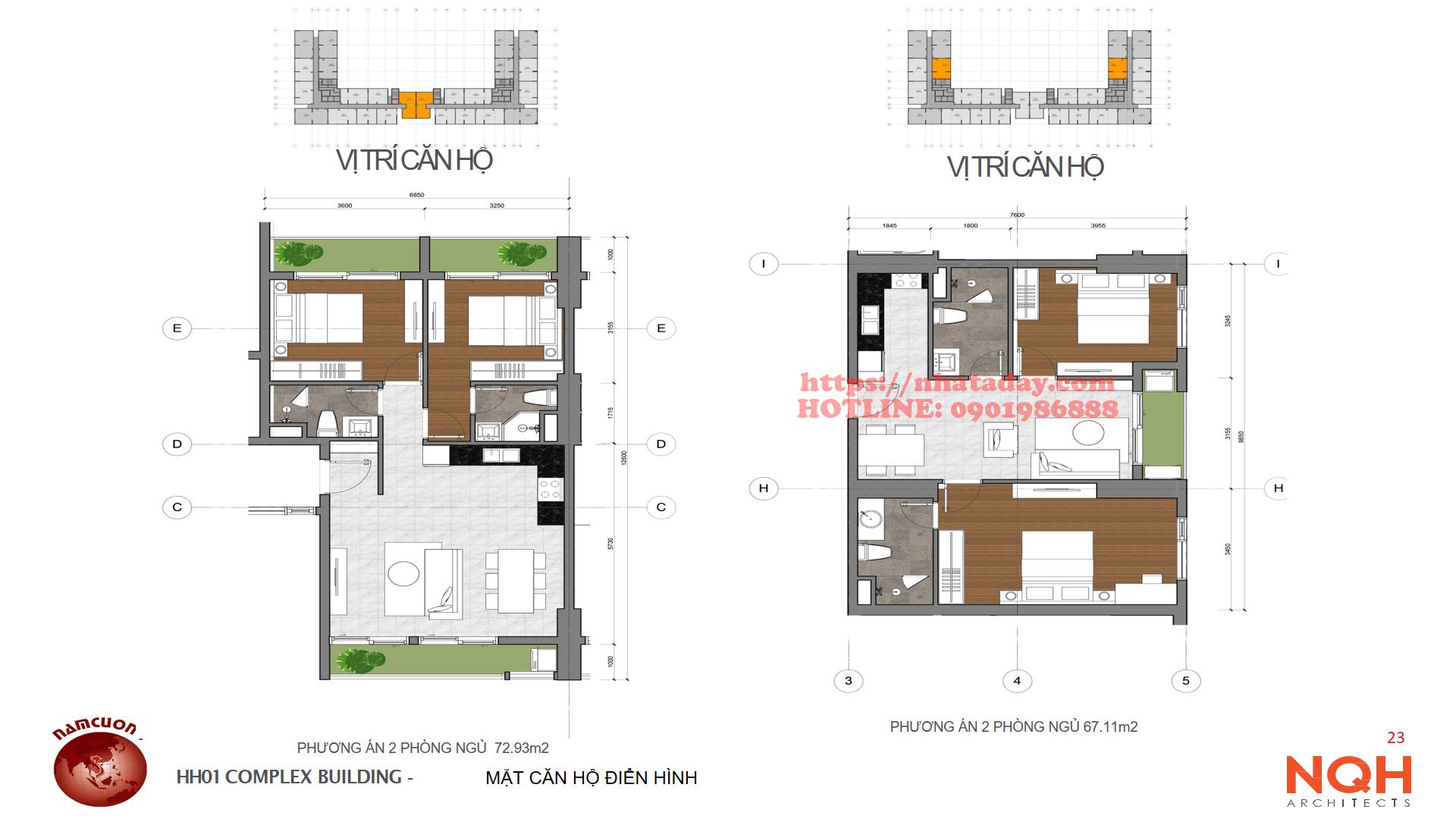 Thiết kế căn hộ 67m2 va 73m2 Chung cư Anland Complex Building Nam Cường Dương Nội