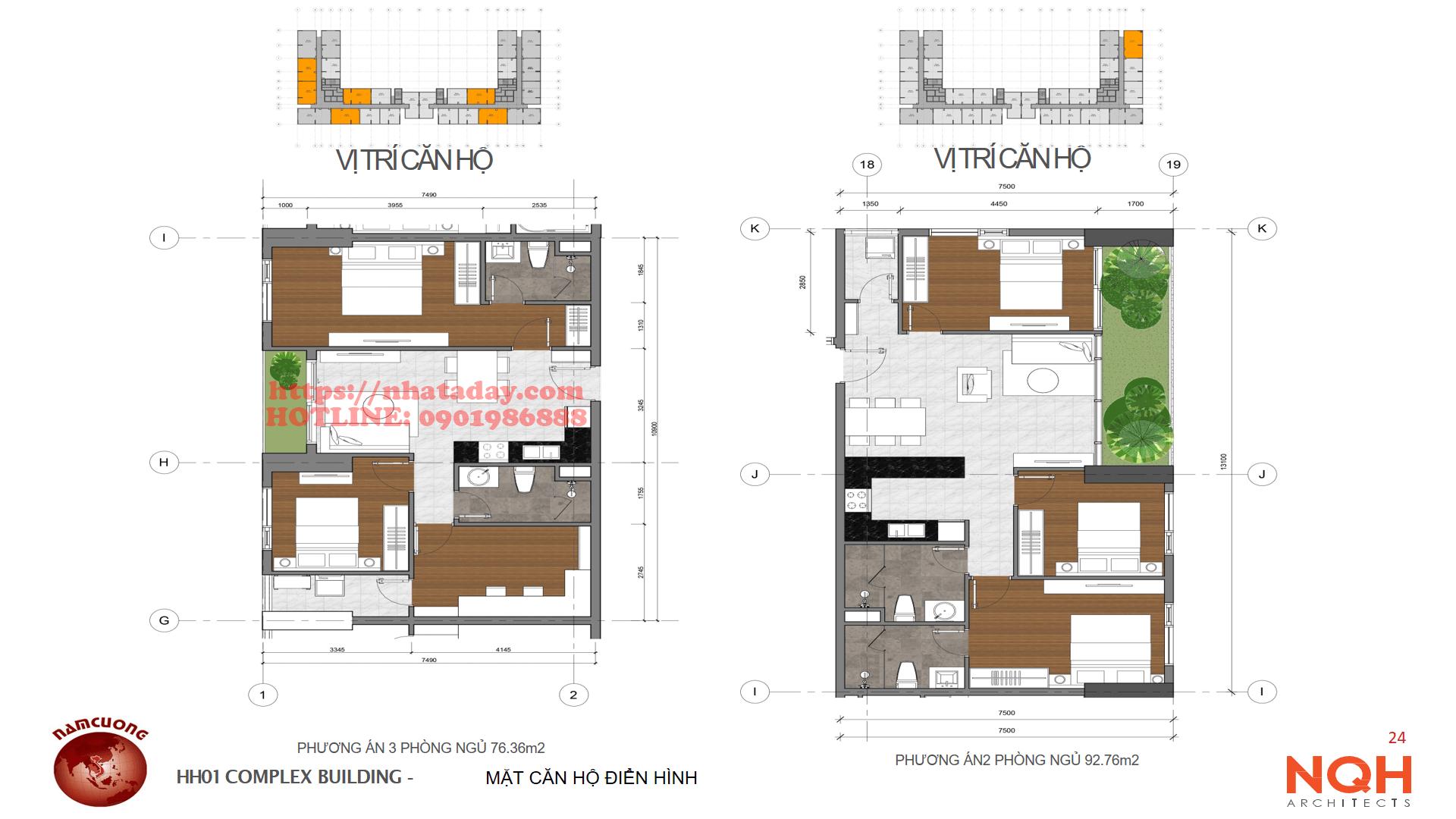 Thiết kế căn hộ 76 m2 và 93m2 Chung cư Anland Complex Building Nam Cường Dương Nội