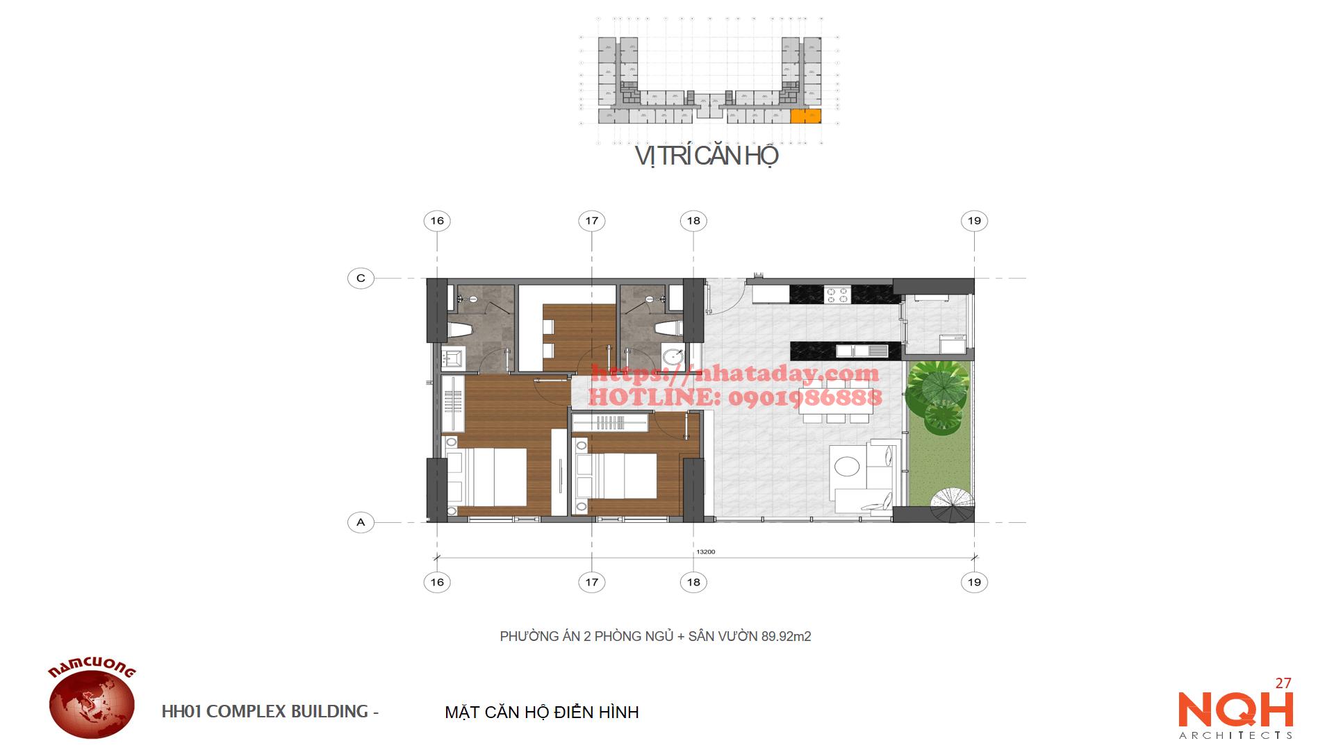 Thiết kế căn hộ 89,92m2 Chung cư Anland Complex Building Nam Cường Dương Nội