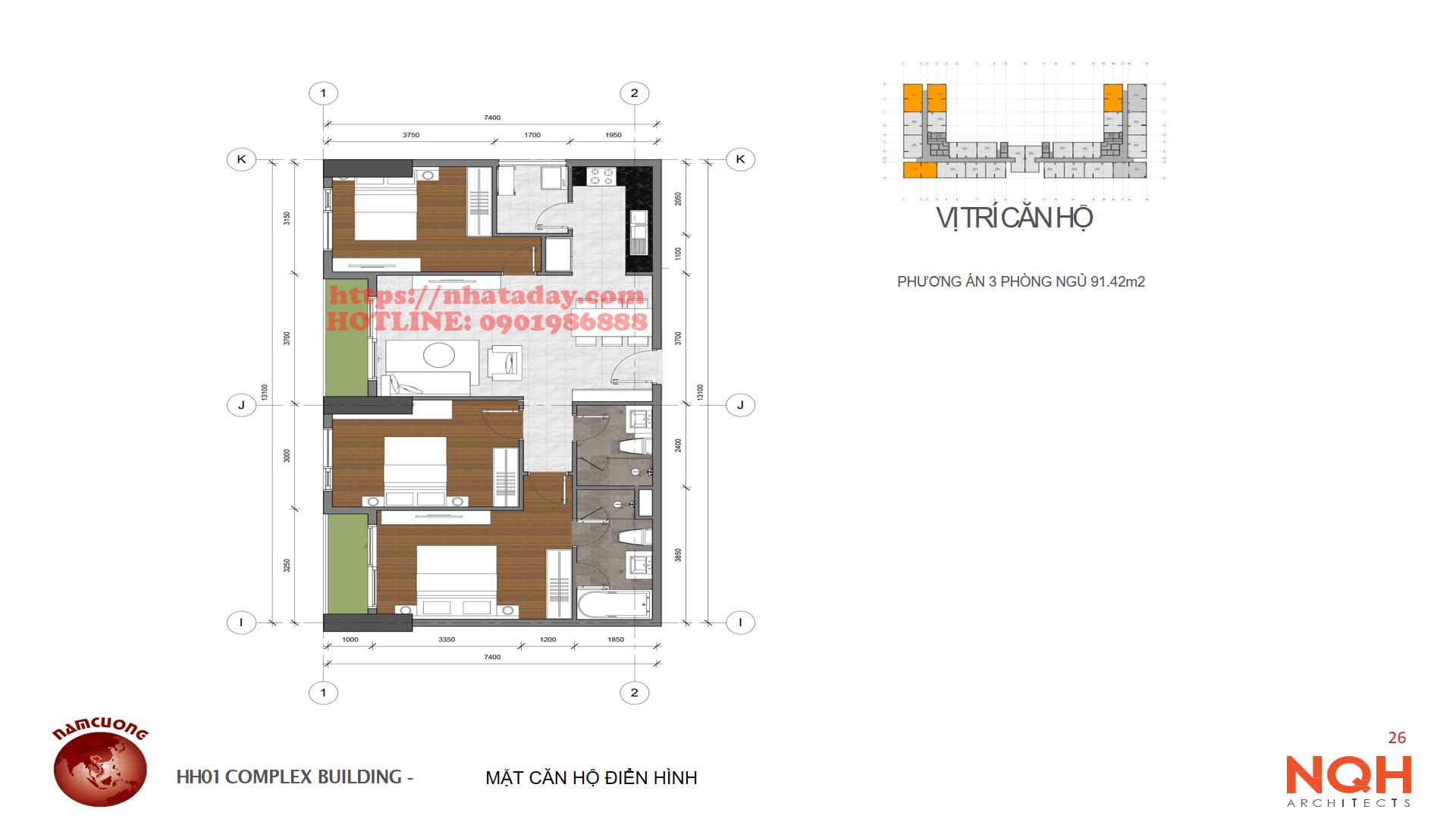 Thiết kế căn hộ 91,42m2 Chung cư Anland Complex Building Nam Cường Dương Nội