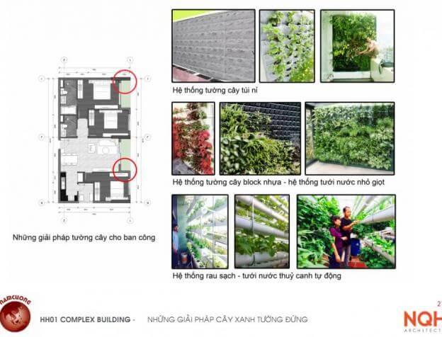 Nhiều giải pháp vườn cây xanh thẳng đứng (Vườn dây) tại chung cư AnLand HH01 Nam Cường