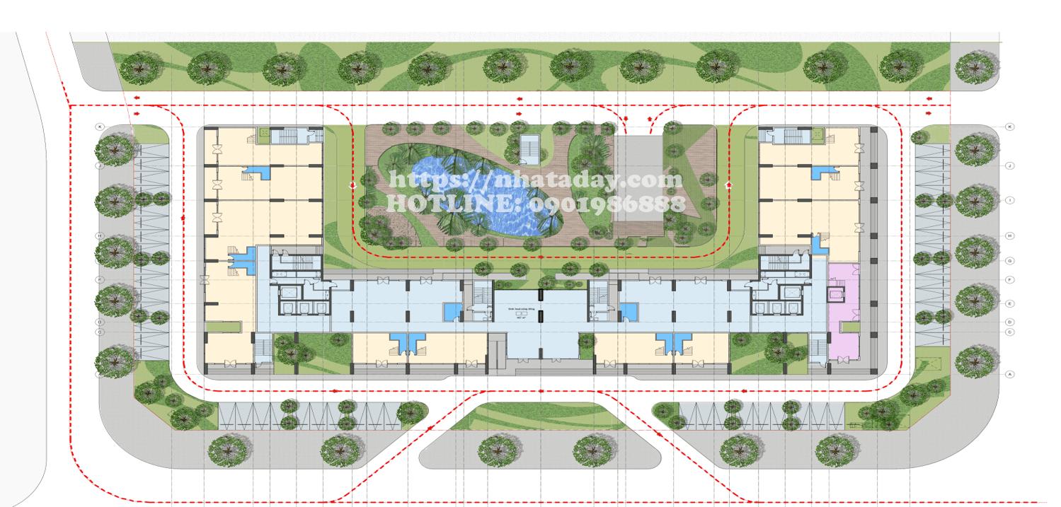 Mặt bằng thiết kế tầng 1 chung cư AnLand Complex Building Nam Cường