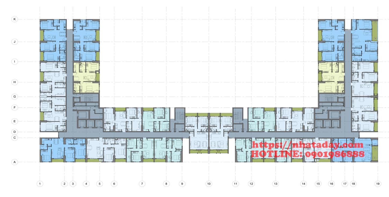 Thiết kế mặt bằng tầng 4-24 Chung cư Anland Complex Building Nam Cường Dương Nội