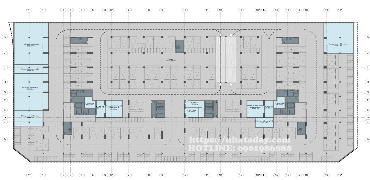 Thiết kế mặt bằng tầng hầm 1 Chung cư Anland Complex Building Nam Cường Dương Nội