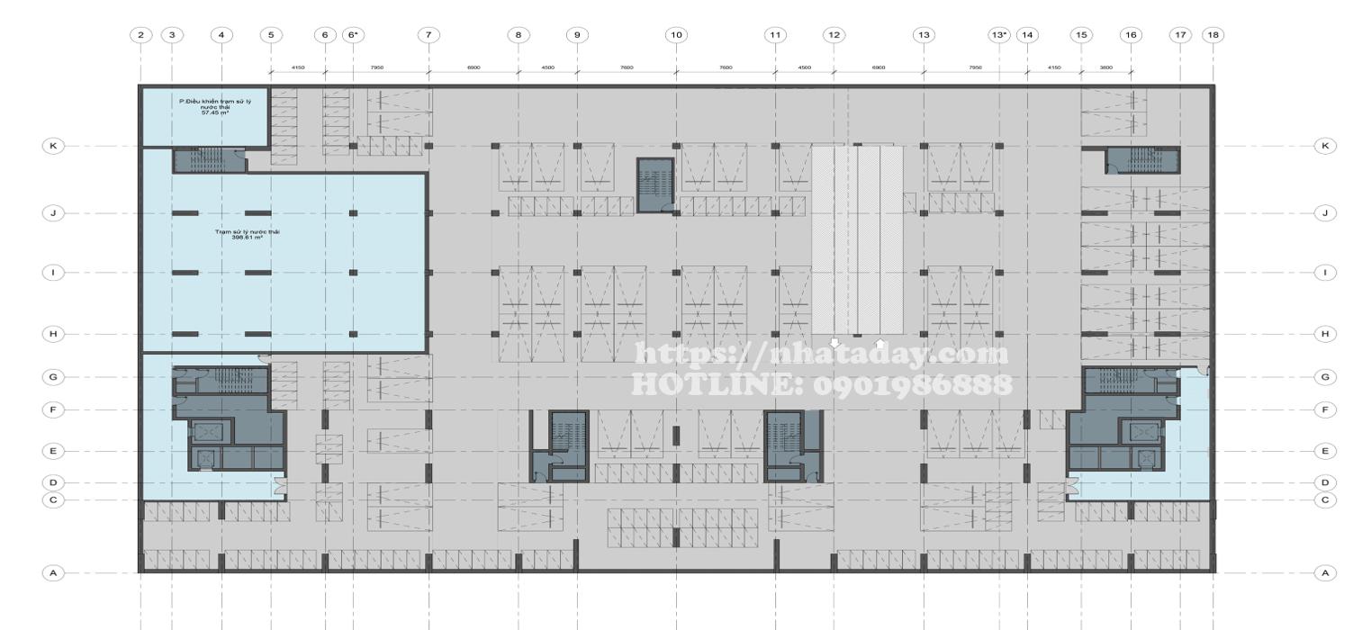 Thiết kế mặt bằng tầng hầm 2 Chung cư Anland Complex Building Nam Cường Dương Nội