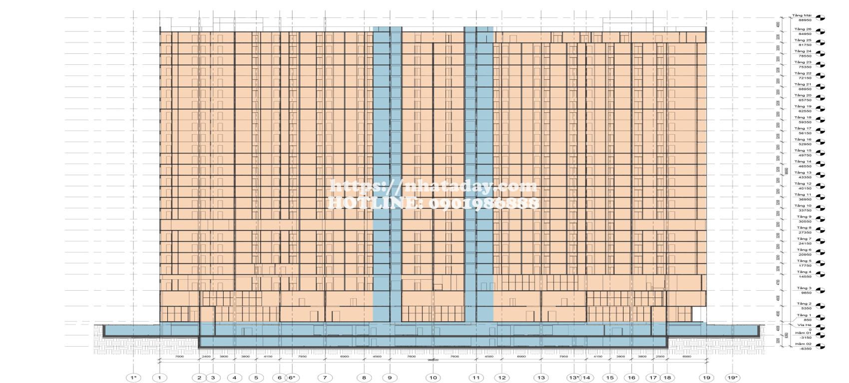 Mặt cắt trục 1 -19 chung cư AnLand Complex Building Nam Cường
