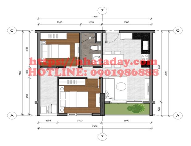 Thiết kế căn hộ 54,51m2 Chung cư Anland Complex Building Nam Cường Dương Nội