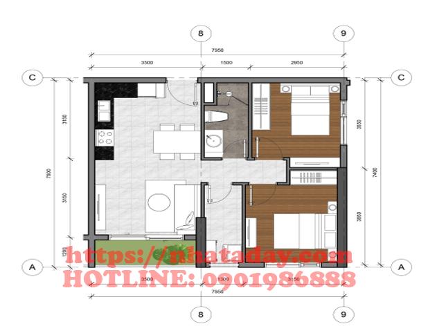 Thiết kế căn hộ 54,88m2 Chung cư Anland Complex Building Nam Cường Dương Nội