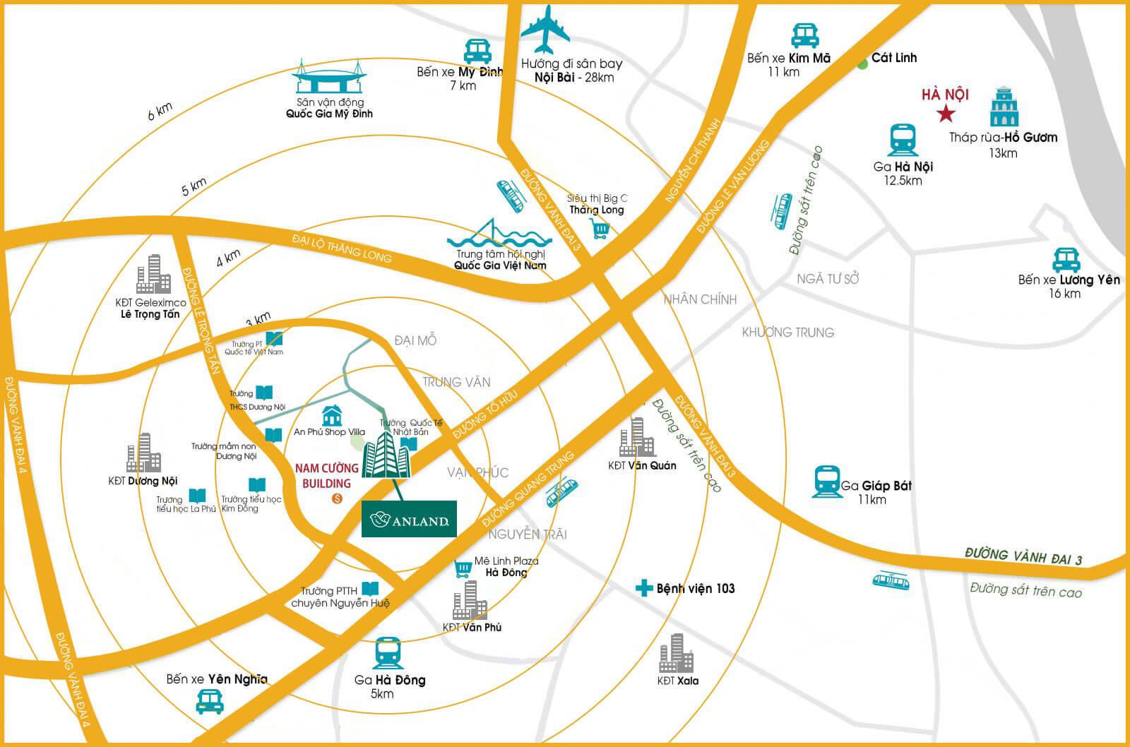 Vị trí chung cư Anland Complex Building Nam Cường