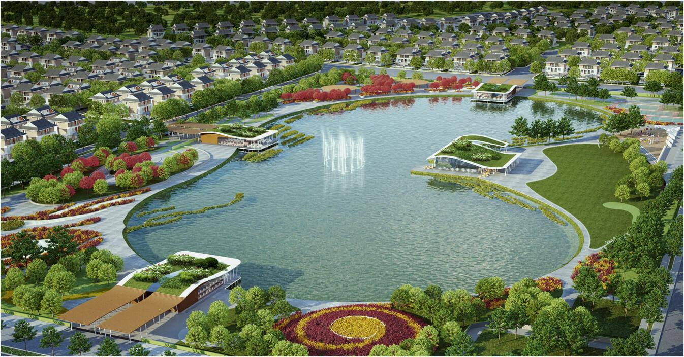 Hồ Bách Hợp Thủy - công viên Thiên Văn học trong khuôn viên khu Biệt thự An Vượng